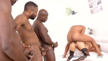 Private Black – Teared Up Babe Florane Russell Drilled By 4 Black Cocks!