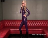 Purple Latex Blonde Charlottes High Heels And Tight Latex-rubber Fetishism With Stunning Softcore Solo Blonde Posing And Teasing