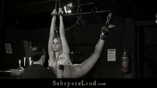 Slave mouth disciplined with cumshot after bondage sub sucking