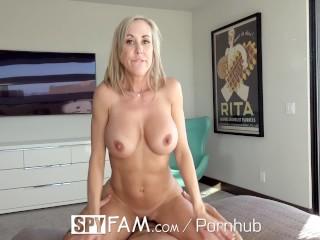 SpyFam Big tit step mom Brandi Love fucks gamer stepson